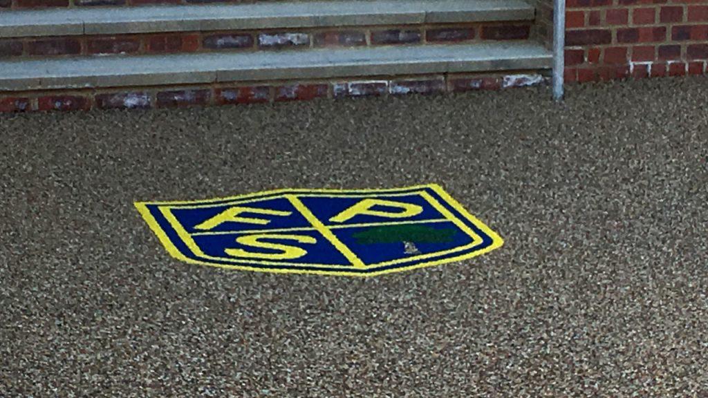Resin bound stone & stencil - LOGO - school logo