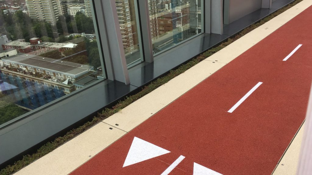Resin Bound EPDM - Running track on roof in London